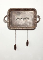 Devil Garden, silver plated tray, seed pods, chain.